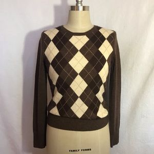 TWEEDS argyle sweater 💯 Cashmere brown Size Small